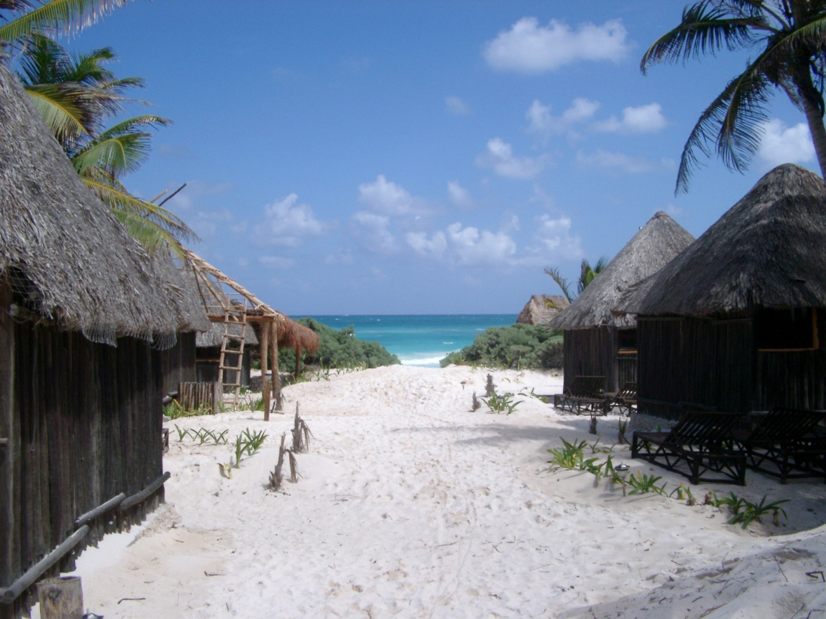 Thatched huts in a Mexican resort